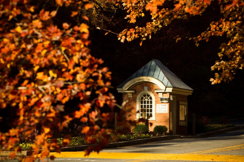 Campus Gatehouse in Fall