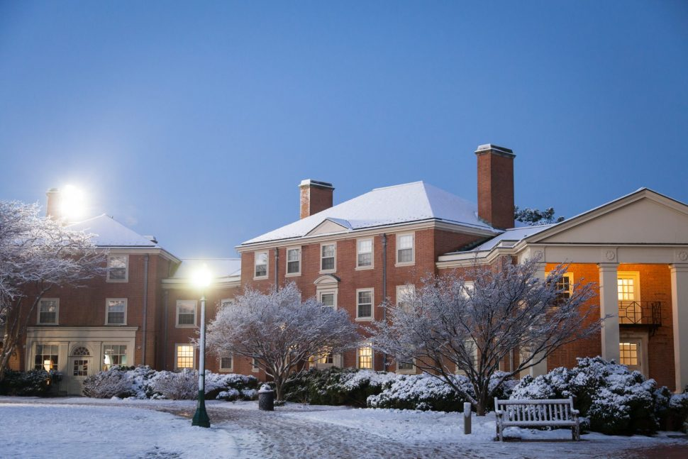 Efird Residence Hall in the snow