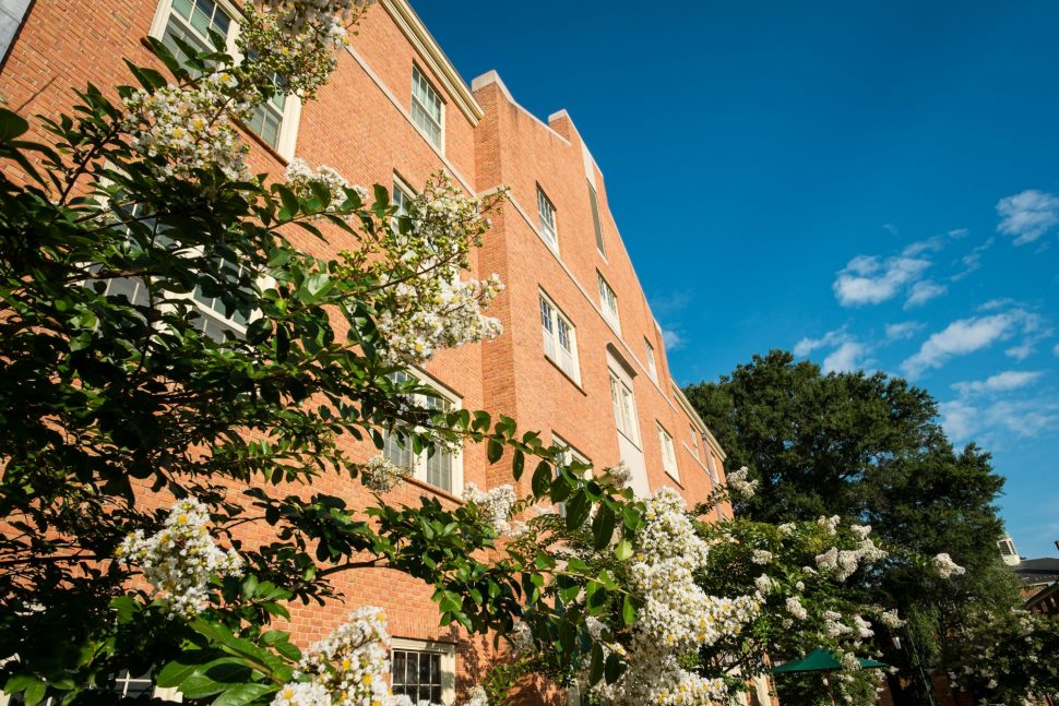 Side view of South Residence Hall with blooming hydrangea trees.
