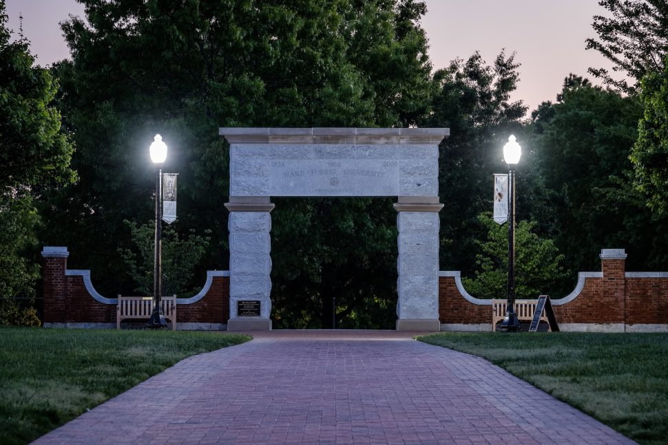 Wake Forest University Arch on Hearn Plaza at Dusk