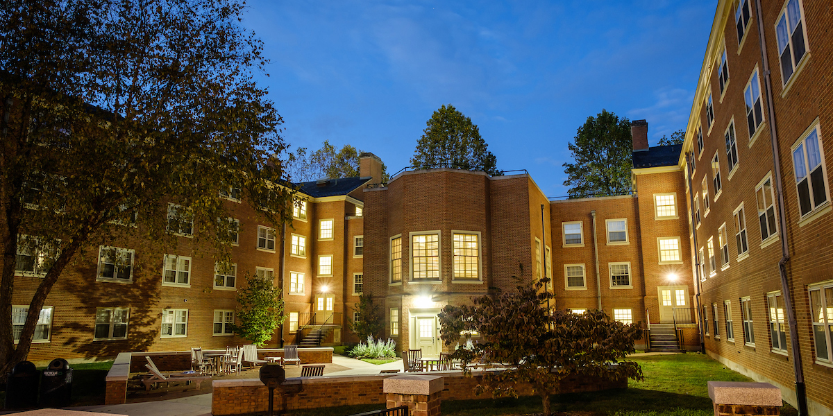 Exterior of Babcock residence hall at night