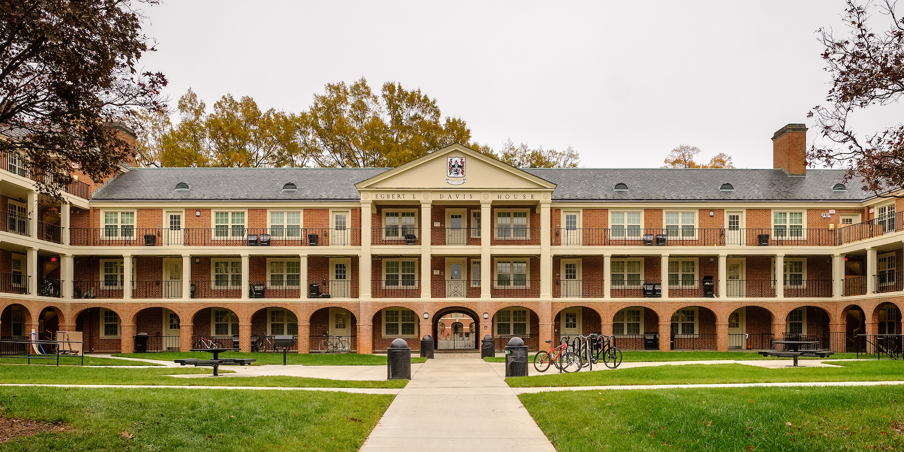 Davis residence hall courtyard