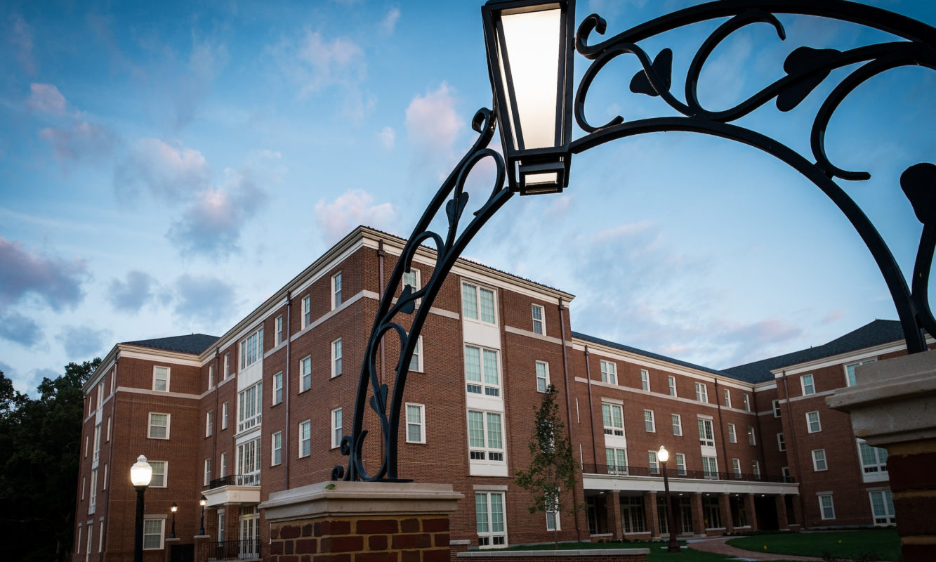 Stairway leading up to Dogwood residence hall