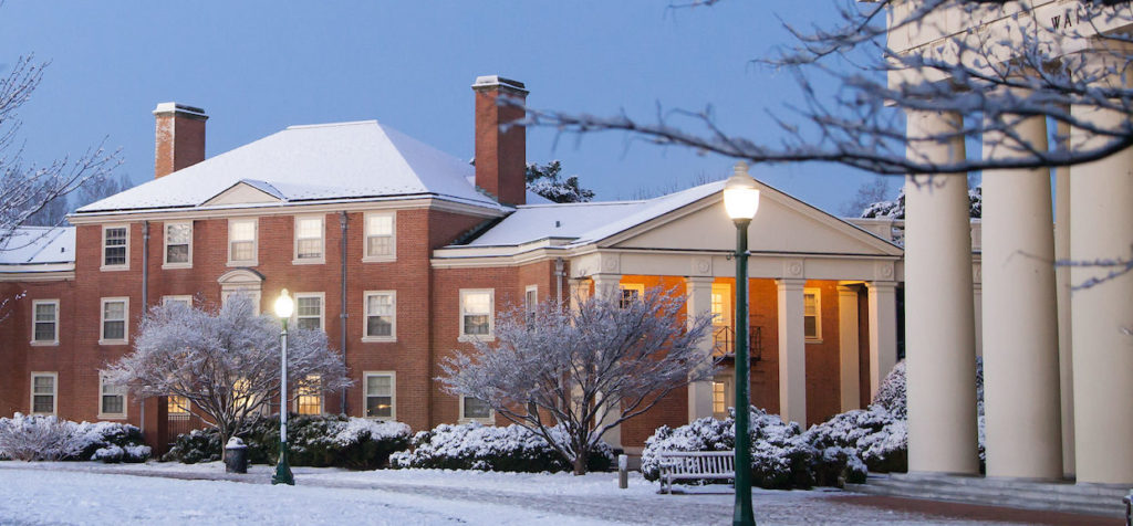 Efird residence hall covered in snow