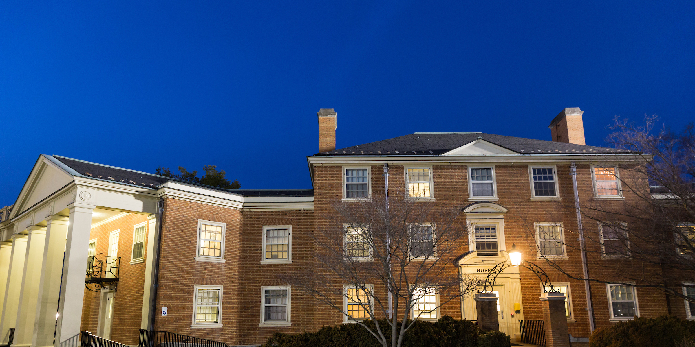 Huffman residence hall at night