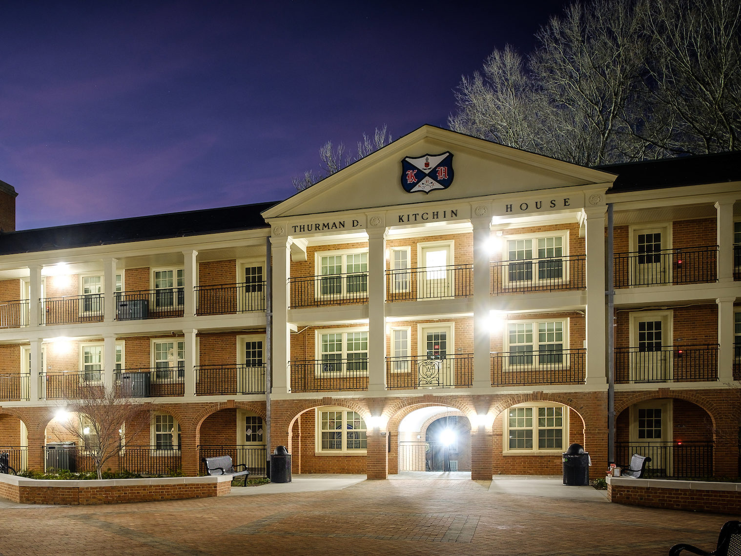 Kitchin residence hall courtyard at night