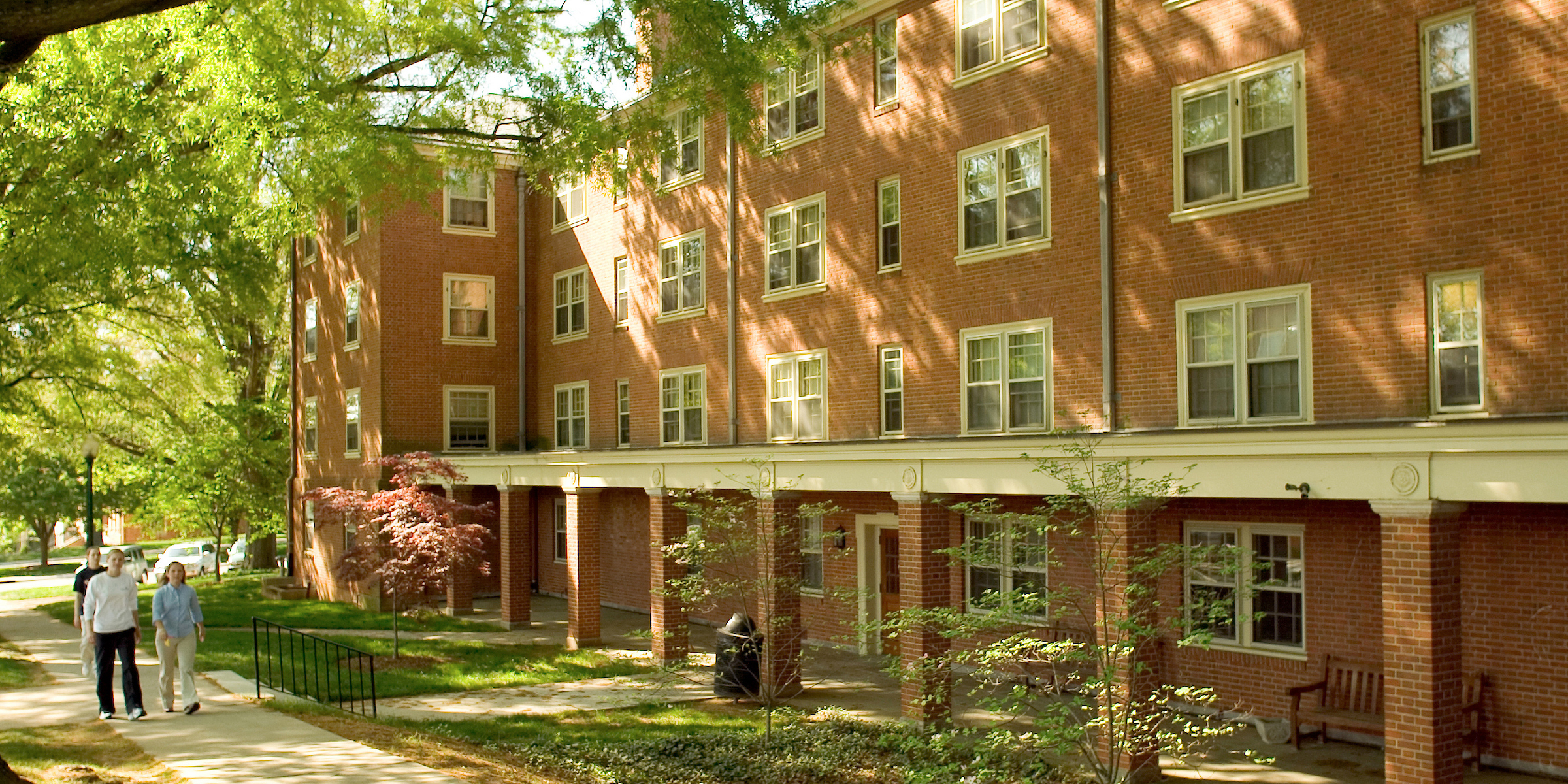 View from the street of a Kitchin residence hall entrance