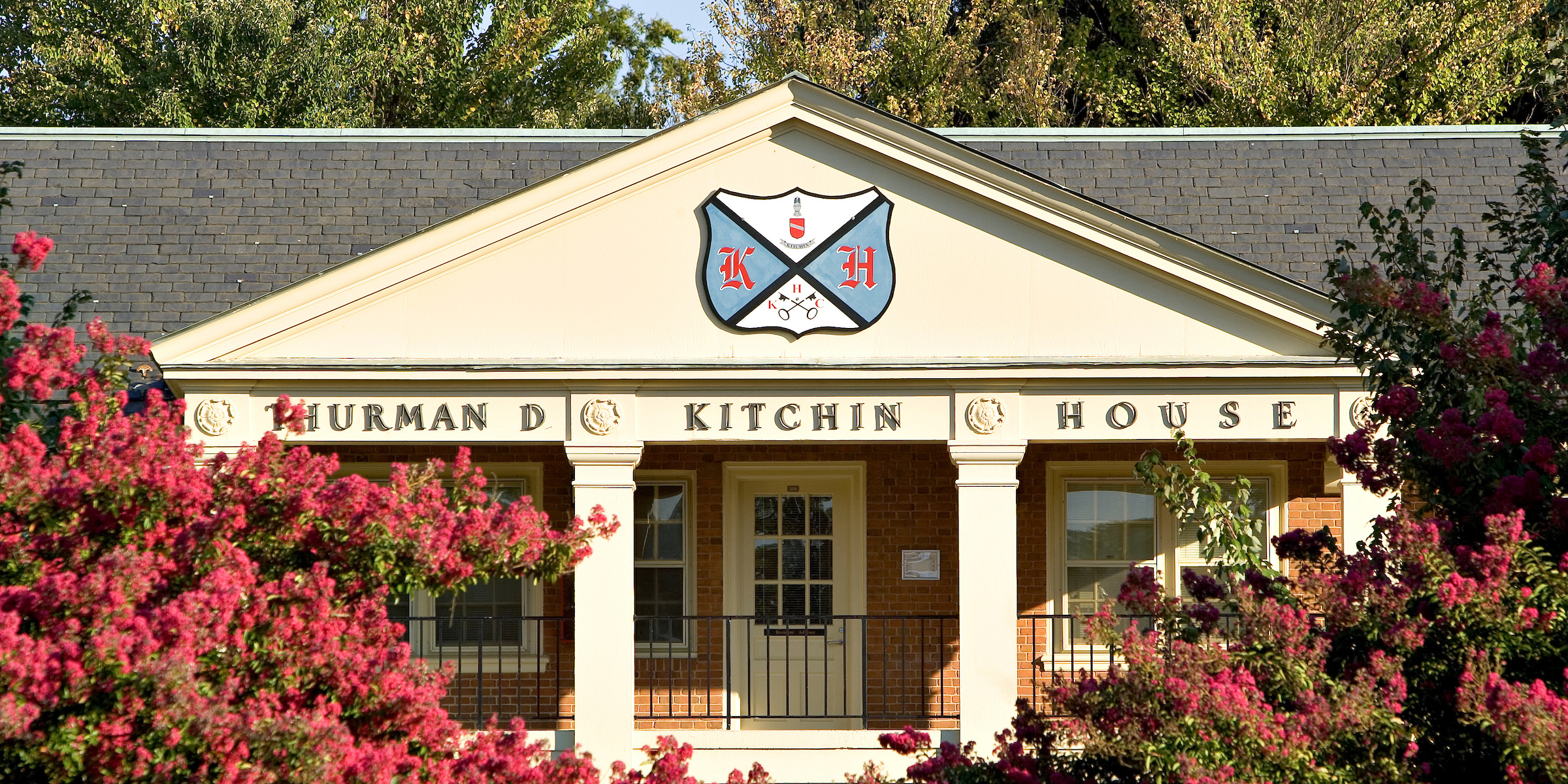 Kitchin residence hall's crest and sign