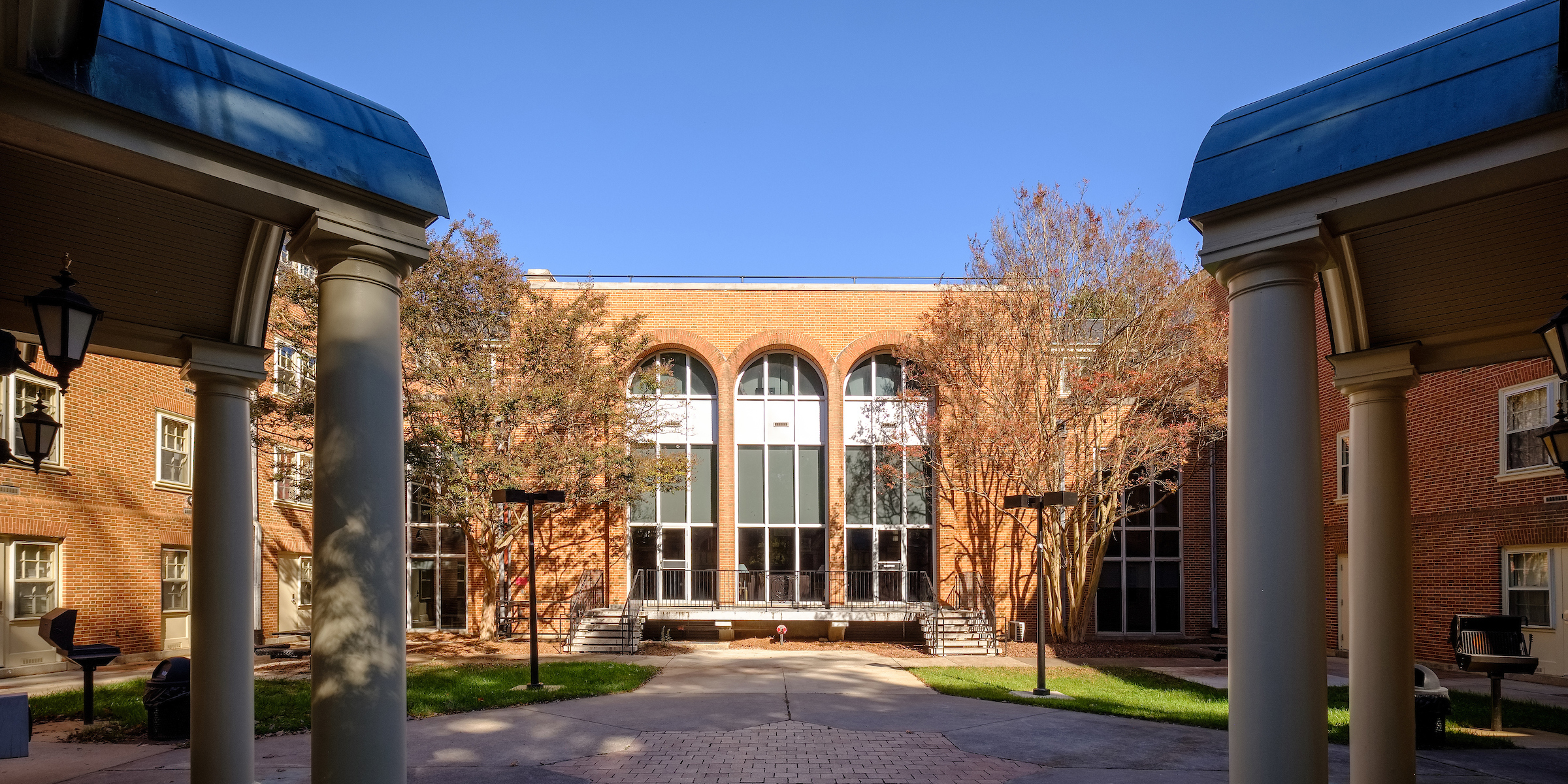 Rear courtyard of Luter residence hall