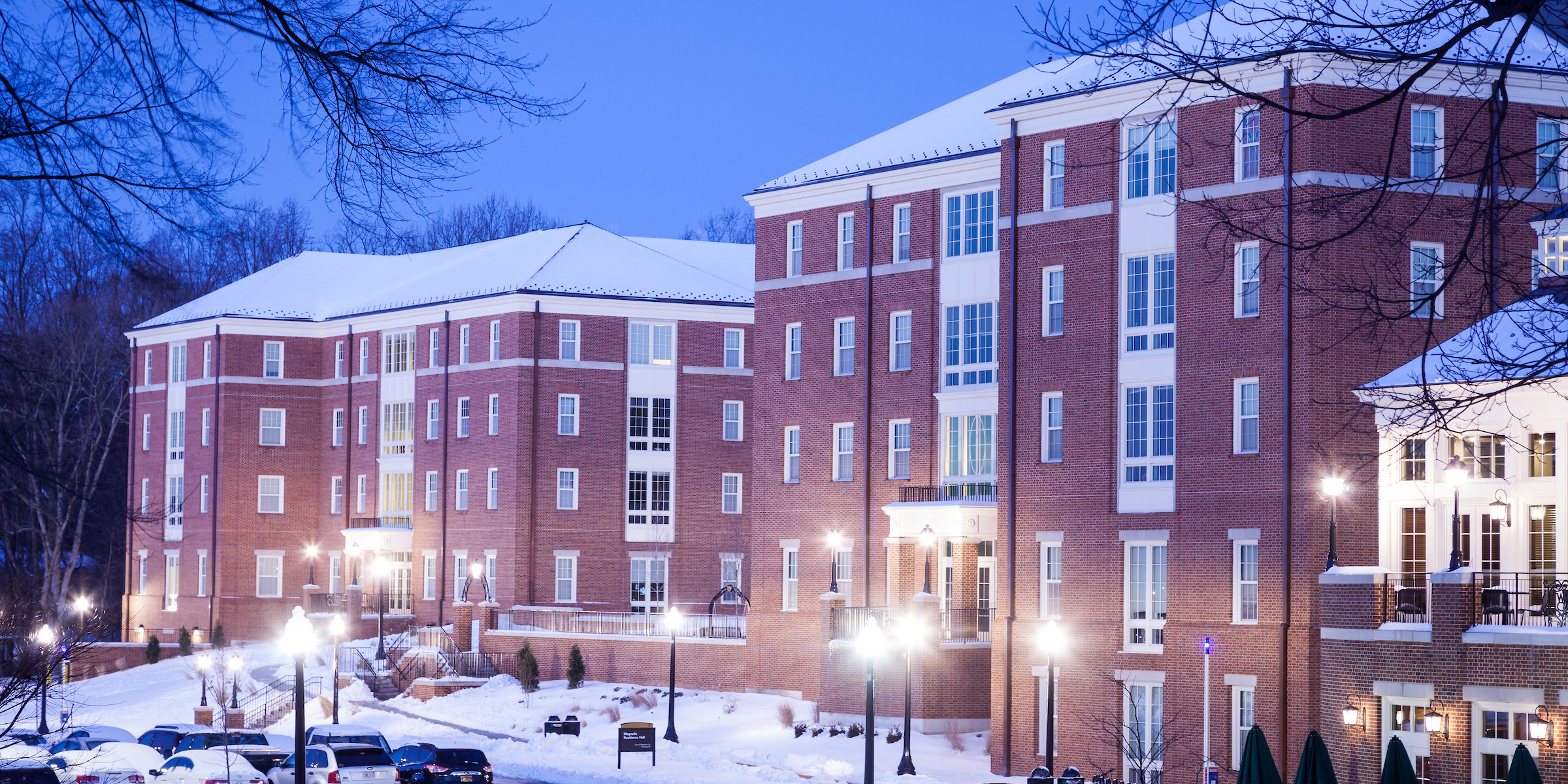 Dogwood and Magnolia residence halls in the snow