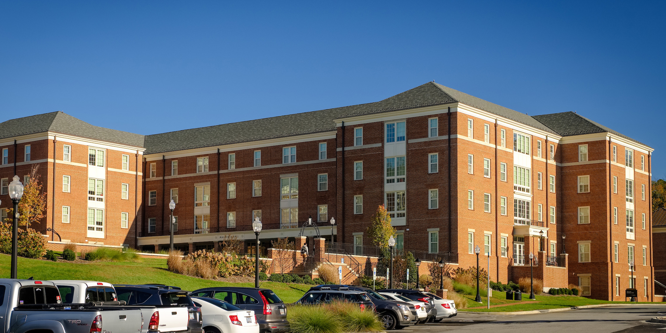 Full building photograph of Magnolia residence hall