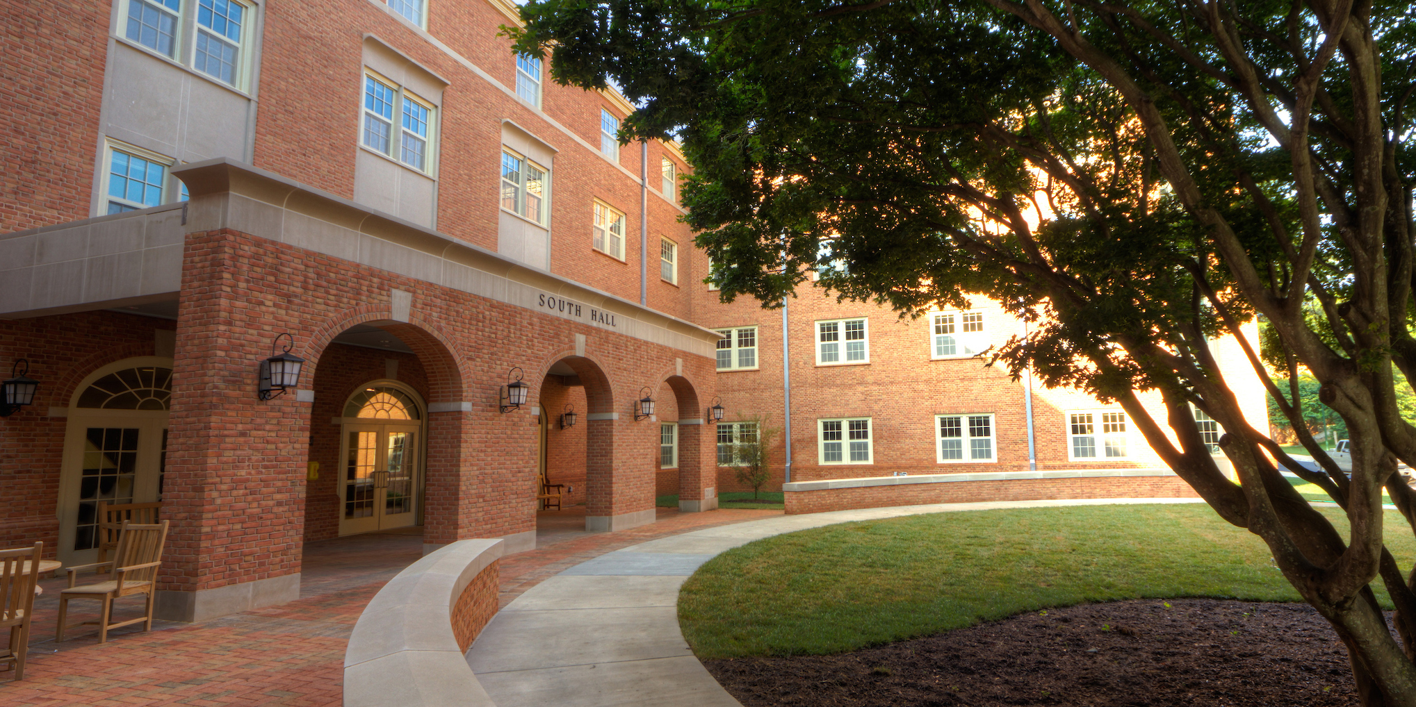 Walkway leading to South residence hall entrance