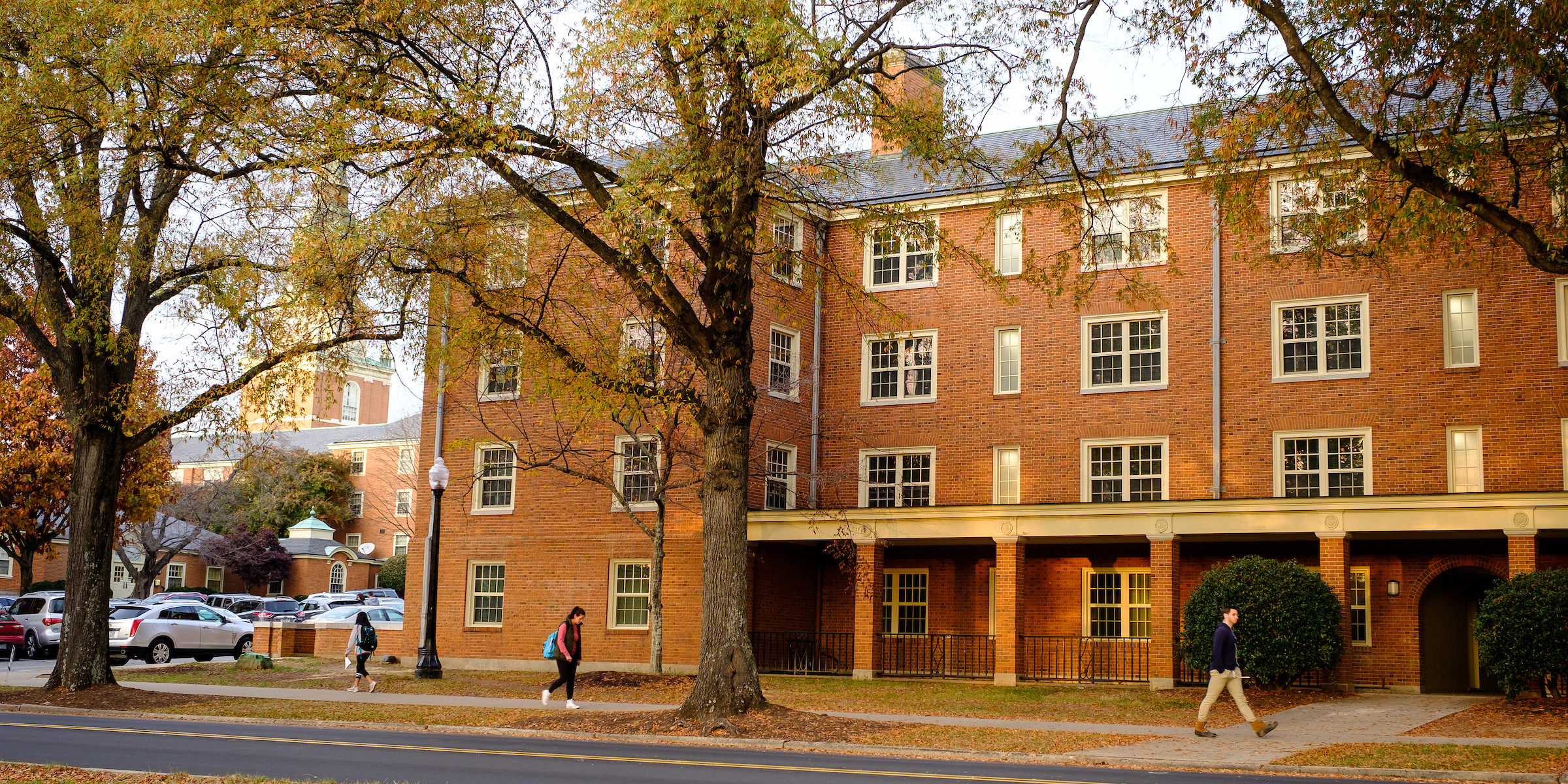 Street view of rear entrance to Taylor residence hall