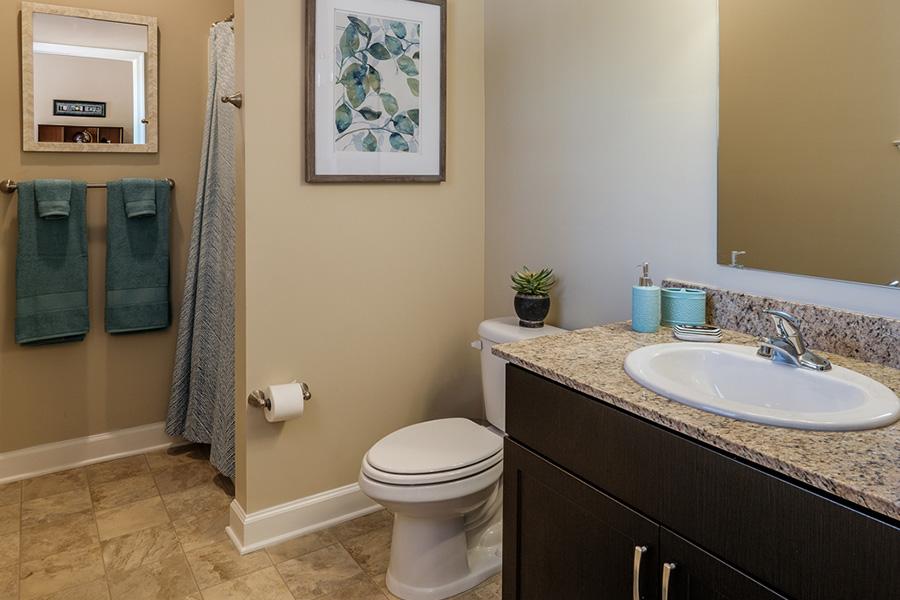 A bathroom in Deacon Place housing
