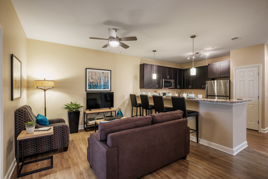 A furnished living room in Deacon Place housing