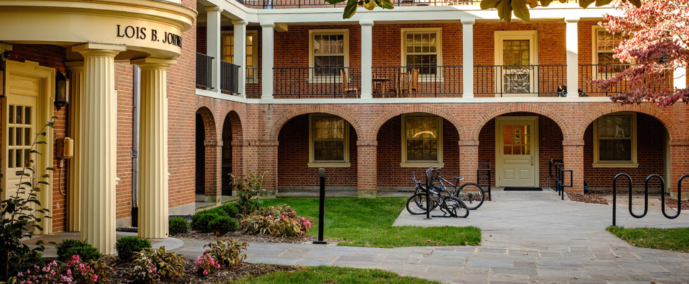 Exterior photo of the courtyard of Johnson Residence Hall