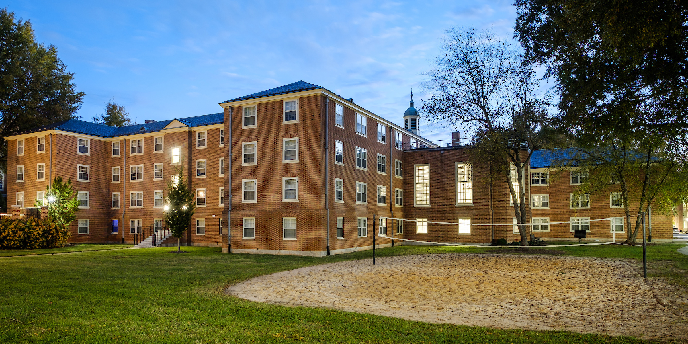 The rear courtyard of Johnson Residence Hall