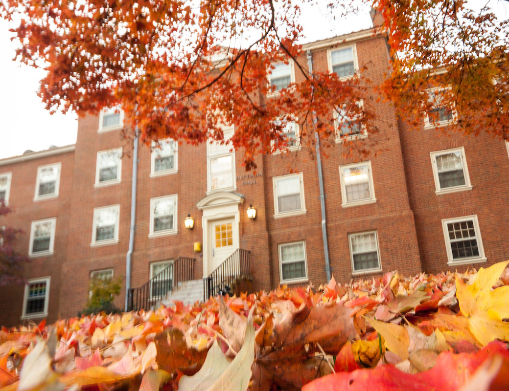 Huffman Residence Hall in the fall