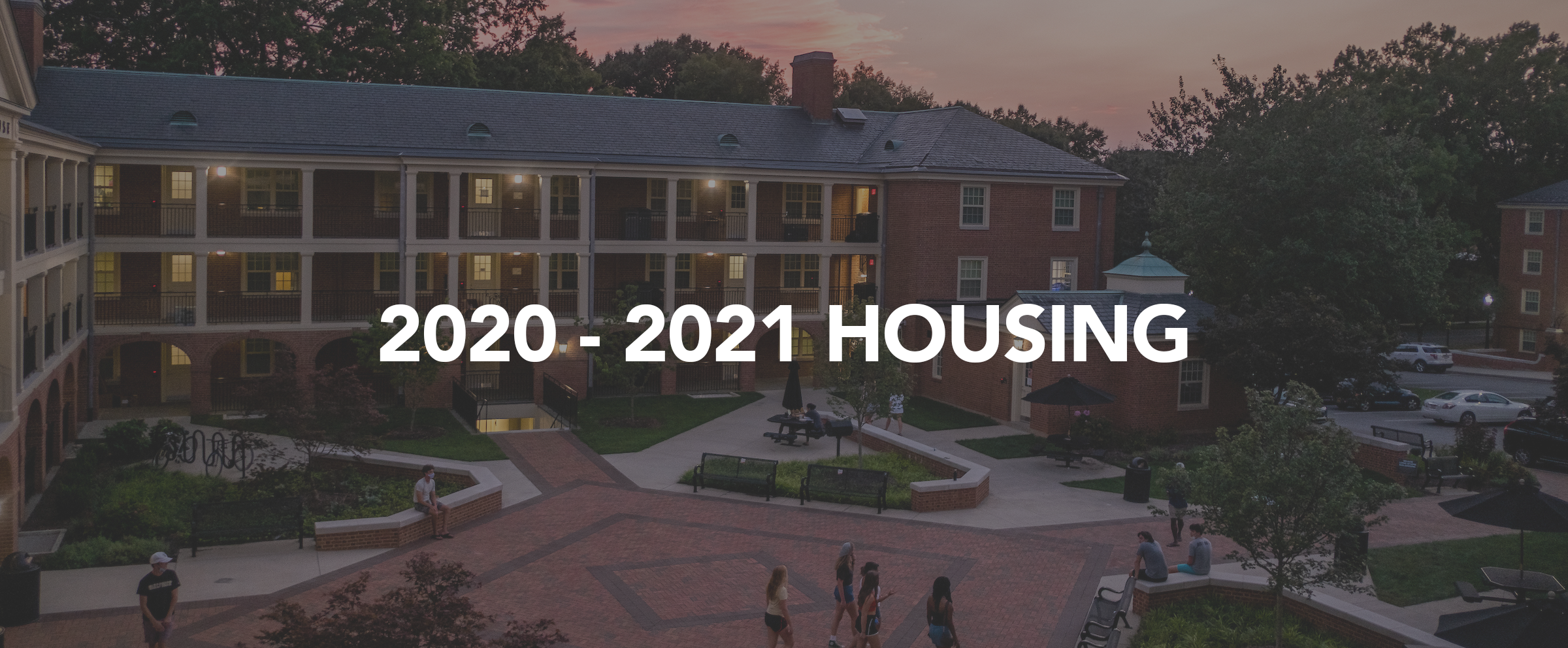 2020-2021 Housing Page Banner Image; The sun sets over Davis Residence Hall on Tuesday, August 25, 2020.