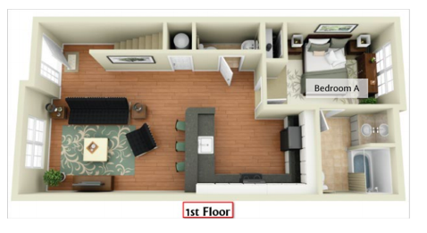 First Floor floor plan of a Deacon Station unit. Bedroom A is in the back left corner