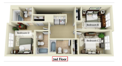 Second floor floor plan of a Deacon Station unit. Bedroom D is in the front right corner of the unit. Bedroom B is in the back left, and Bedroom C is in the back right.