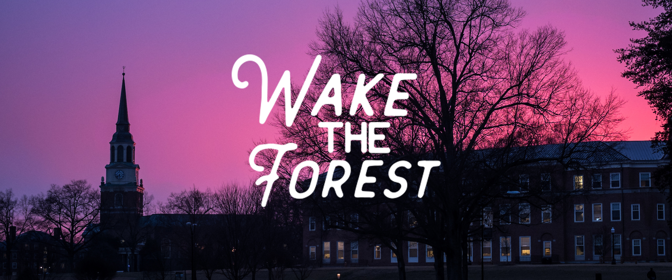 Wake the Forest Banner; Logo with Wait Chapel skyline in the background