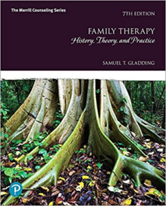 Cover of Family Therapy: History, Theory, and Practice. Image shows a purple header with the text title and author name, with an image of a large tree and its roots digging into the forest floor below.