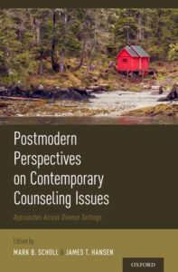 Book cover for Postmodern Perspectives on Contemporary Counseling, featuring an image of a red barn situated among a fall forest along a riverbank