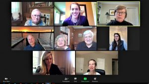 Screenshot of 9 participants in a Virtual Call to Conversation