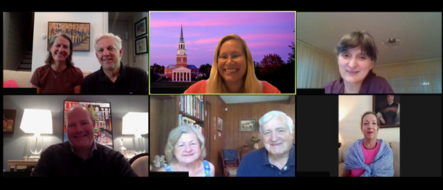 Screenshot group photo of 8 participants in a Virtual Call to Conversation