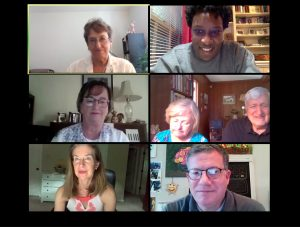 Screenshot of 7 participants in a Virtual Call to Conversation