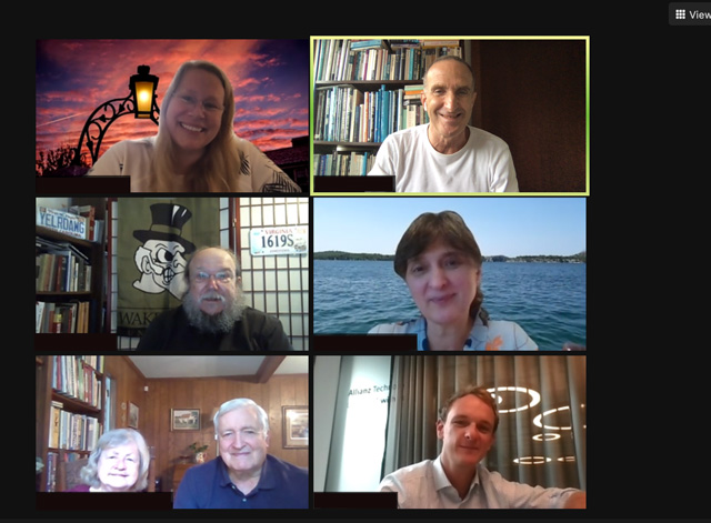 Screenshot group photo of seven participants in a virtual Call to Conversation