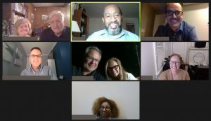 Screenshot group photo of nine participants in a Virtual C2C