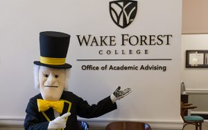 125 Reynolda Hall - Office of Academic Advising location to request a walk-in appointment or set an academic planning session with an Academic Counselor.