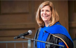 Dean of the College, Michile Gillespie, welcomes new students and imparts wisdom.