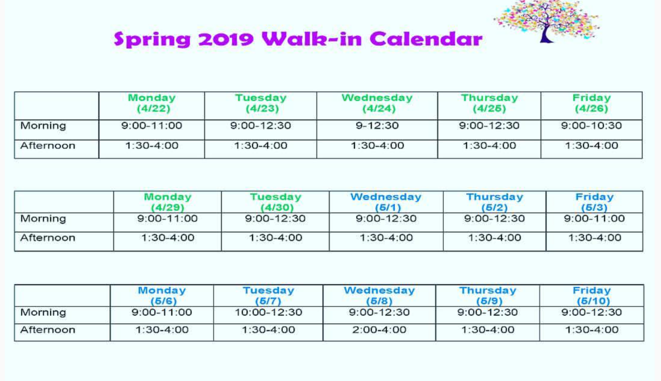 A calendar-formatted hours announcement will be available on the UCC website (counselingcenter.wfu.edu) and will be available for sharing on other out