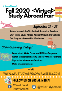 WFU Virtual Study Abroad Fair September 21-25