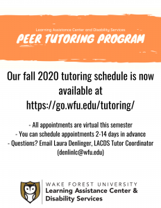 Learning Assistance Center and Disability Services offers free peer tutoring online.