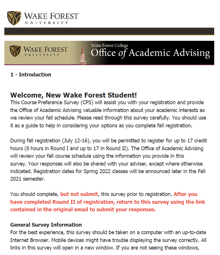 Course Preference Survey Arrives July 9 via WFU email Due July 23