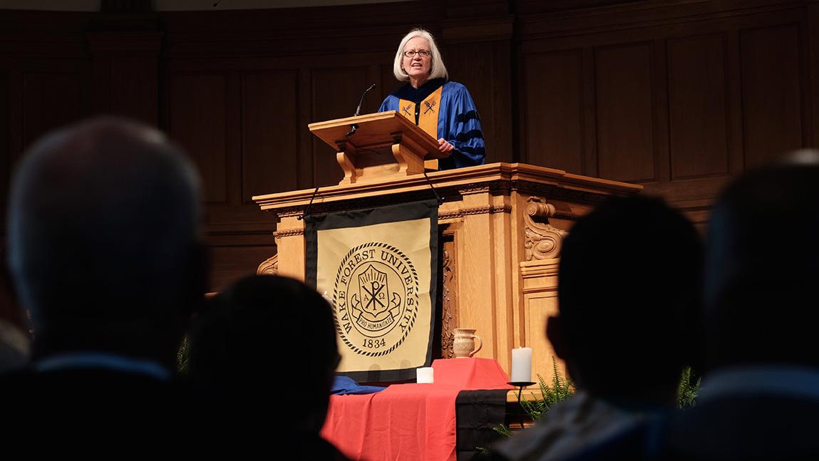 Gail O'Day speaking at Wait Chapel