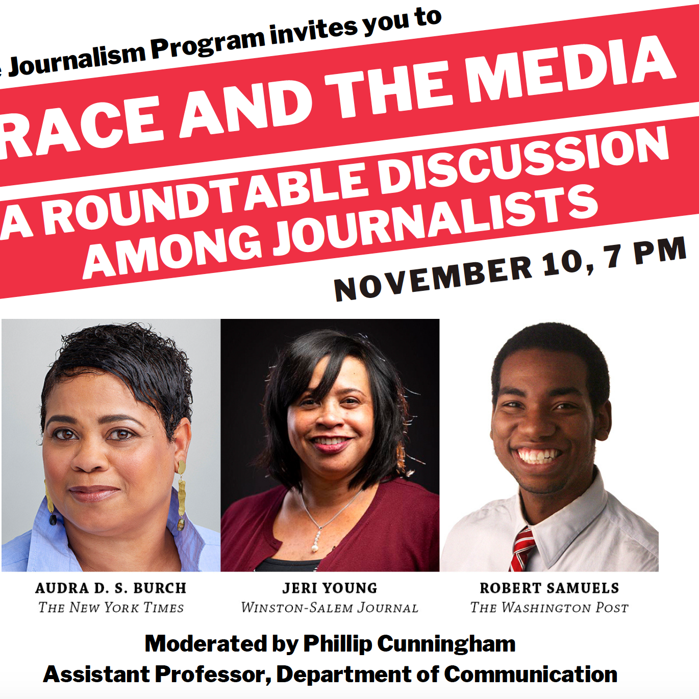 """Leadership and Character Co-Sponsors """"Race and the Media: A Roundtable Discussion Among Journalists"""""""