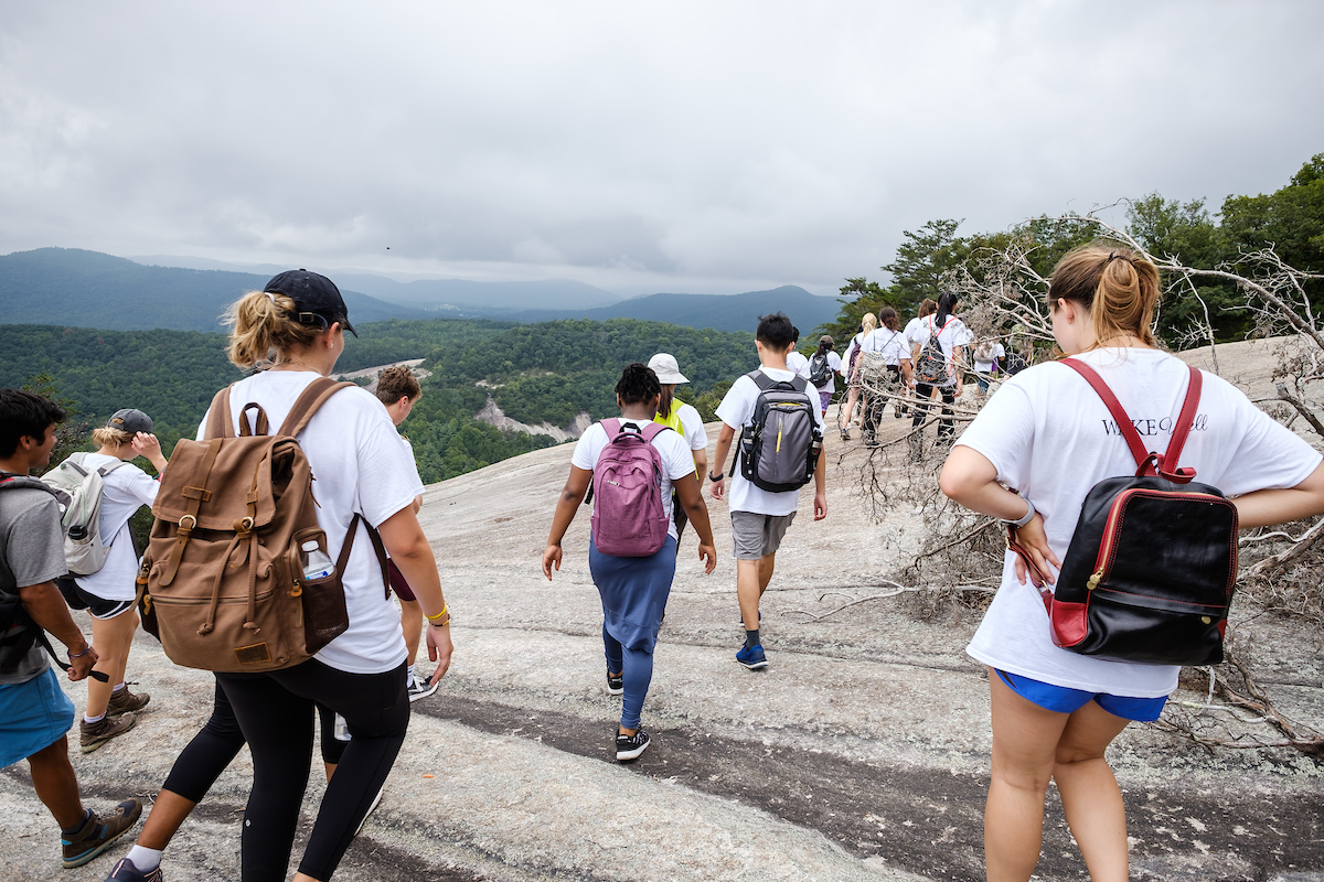 Wake Forest first year students in the WakeWell pre-orientation program hike the strenuous loop trail at Stone Mountain State Park on Monday, August 20, 2018.
