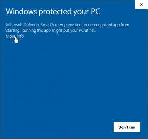 """Windows installer warning - click """"More Info"""""""