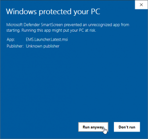 "Windows installer warning window - click the ""Run anyway"" button"