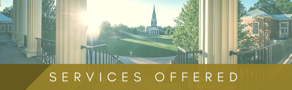 Services Offered with photo of the Wake Forest quad in the background