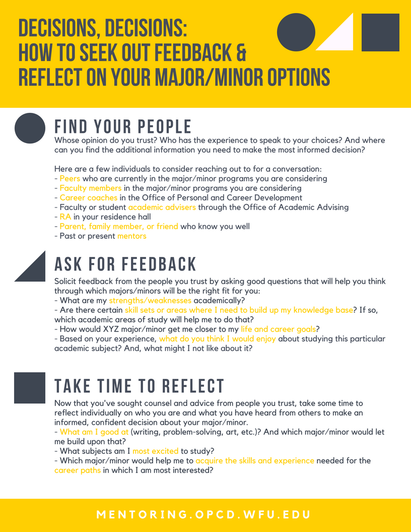Decisions, Decisions: How to Seek Out Feedback & Reflect On Your Major/Minor Options