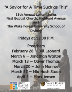 FBC WFUSD Lenten Series - list of speakers