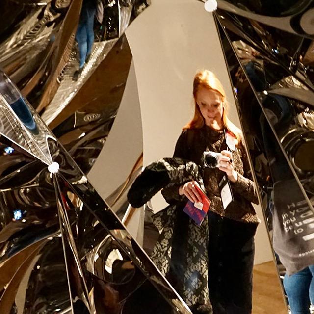 Celeste Allen reflected in Olaffur Eliasson sculpture