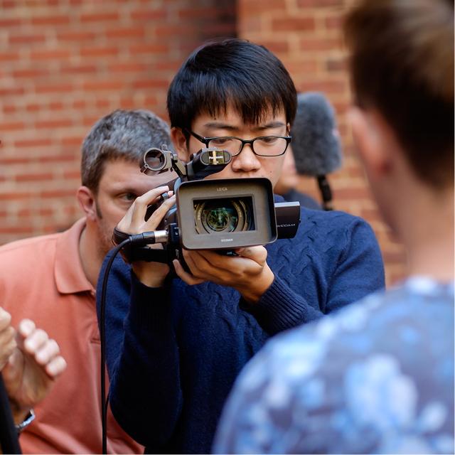Students using film equipment