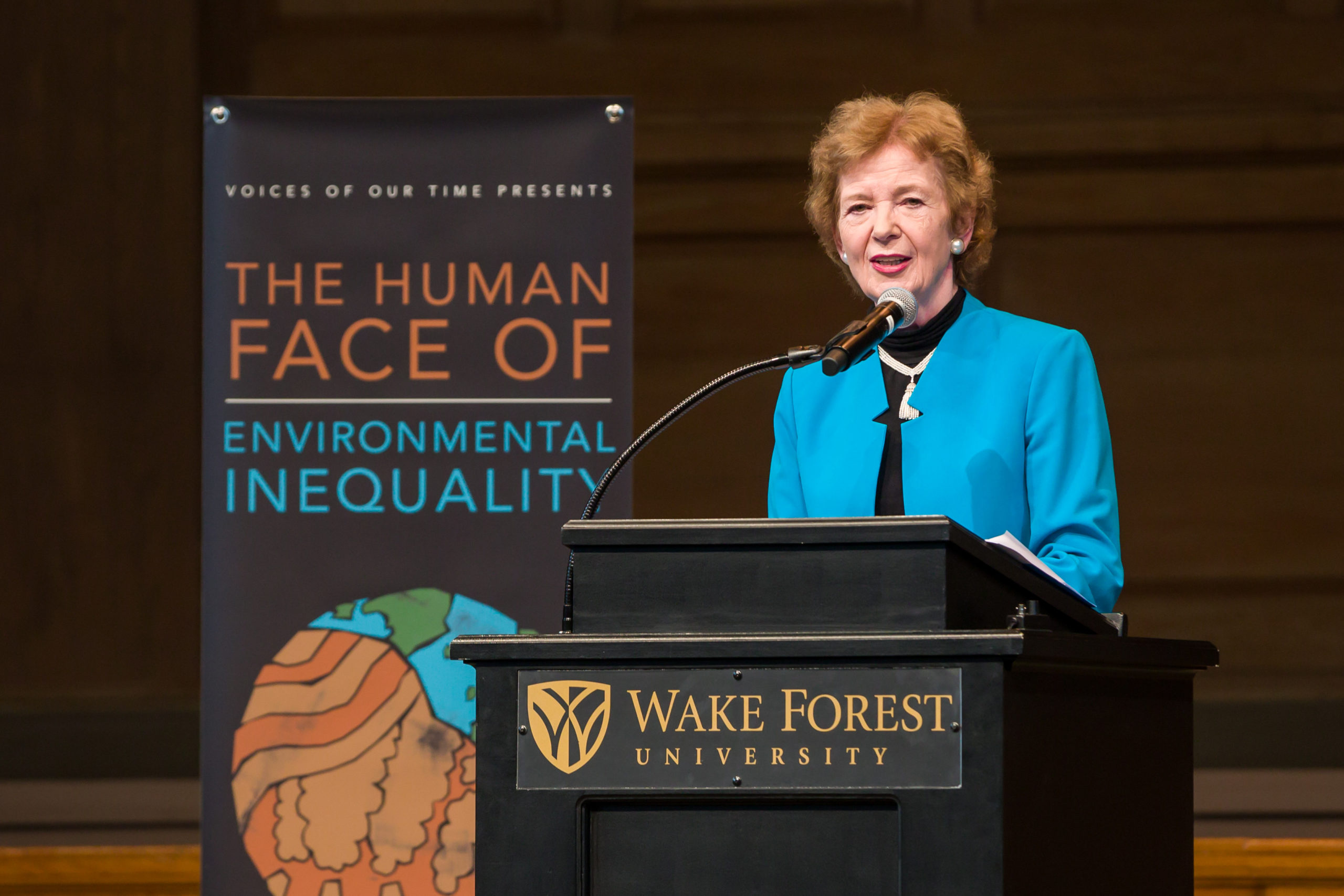 Mary Robinson, the former President of Ireland, presents her Voices of Our Time speech in Wait Chapel on Thursday, March 26, 2015. The speech is the keynote for the Human Face of Environmental Inequality conference being held on campus.